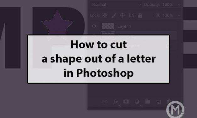 Cutting a shape out of a text logo in Photoshop