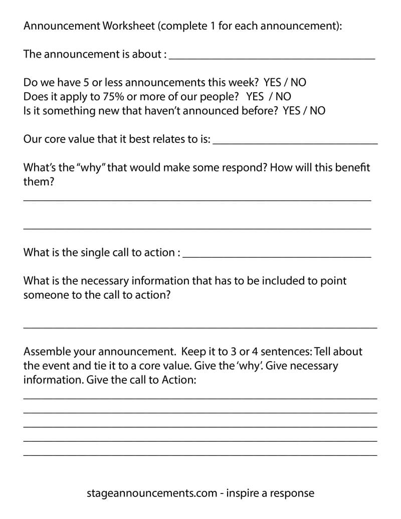 Worksheets Core Values Worksheet church announcement prep worksheet adam mclaughlin facebook comments